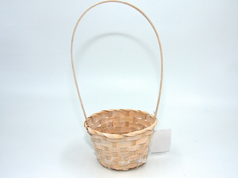 Корзина плетеная (бамбук) D13/Н9,5/28 см, белый