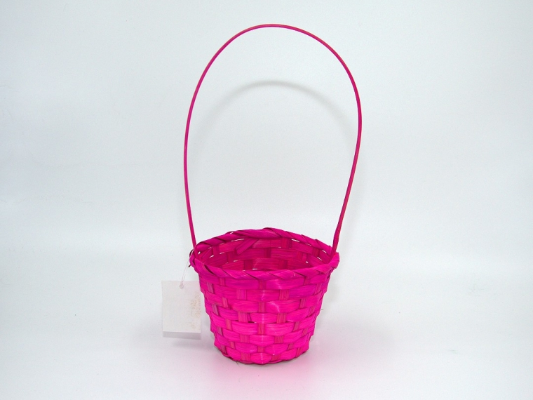 Корзина плетеная (бамбук) D13/Н9,5/28 см, розовый